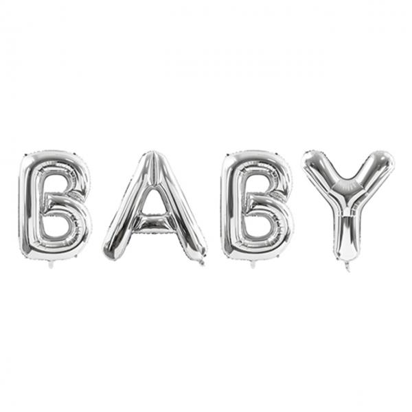 1 Ballon XXL - Schriftzug - BABY - Silber
