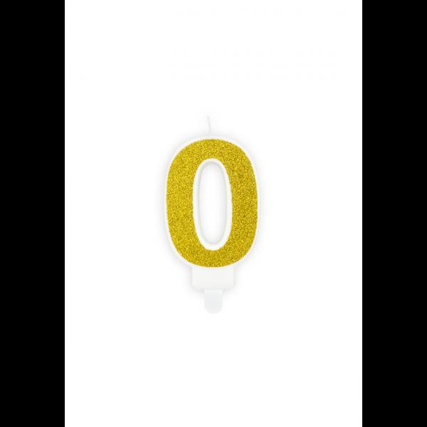 1 Kuchenkerze - Zahl 0 - Gold