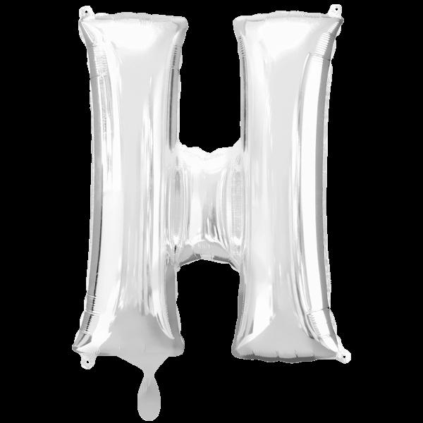 1 Ballon XXL - Buchstabe H - Silber