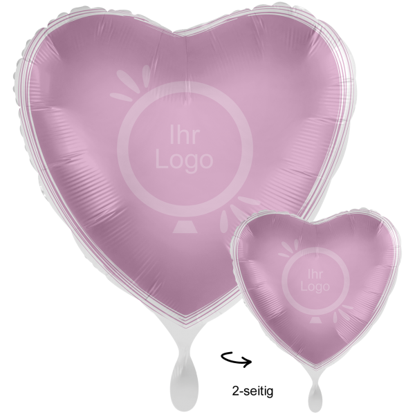 1 Werbeballon XXL - Herz, Ø 71cm, 2-Seitig - Satin - Lavendel