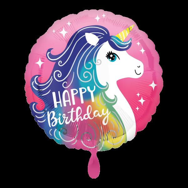 1 Ballon - Pink Unicorn Happy Birthday