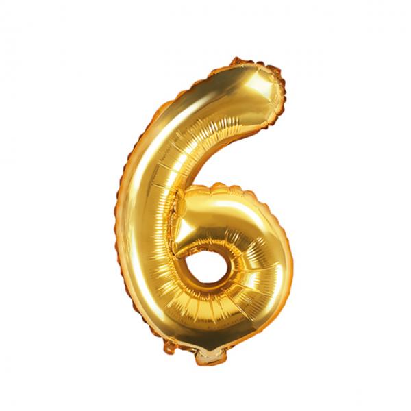 1 Ballon XS - Zahl 6 - Gold