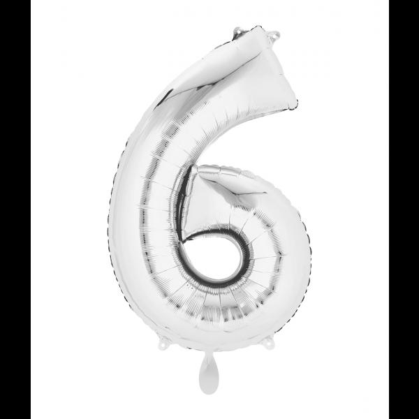 1 Ballon XL - Zahl 6 - Silber