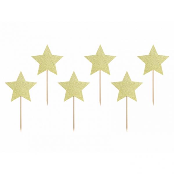 6 Cake Topper - Stars - Gold