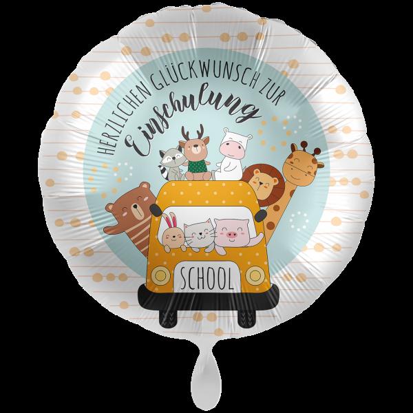 1 Ballon XXL - Schulbus Happy Animals