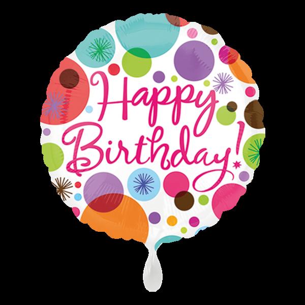 1 Ballon - Happy Birthday Polka Dots