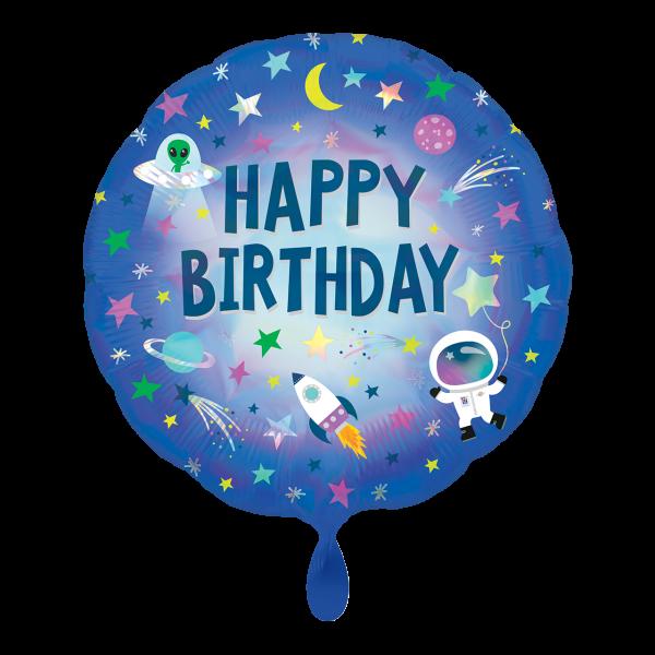 1 Ballon - Iridescent Happy Birthday Outer Space