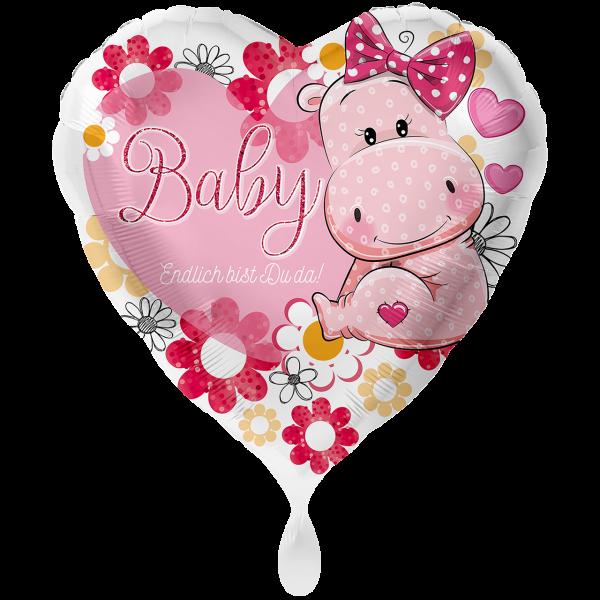 1 Ballon XXL - Baby Nilpferd Mädchen