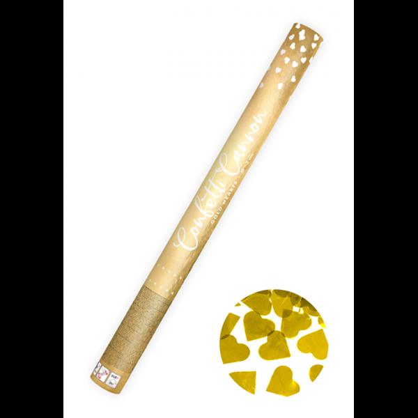 1 Konfettikanone XL - 60cm - Metallic - Herzen - Gold