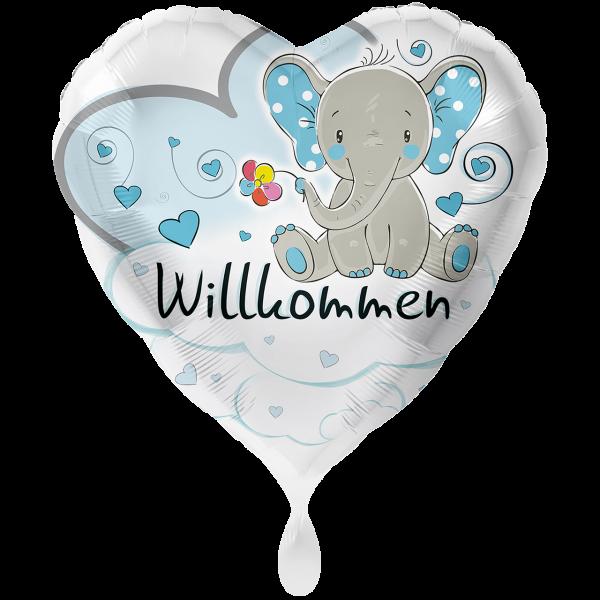 1 Ballon XXL - Elefant Willkommen Hellblau