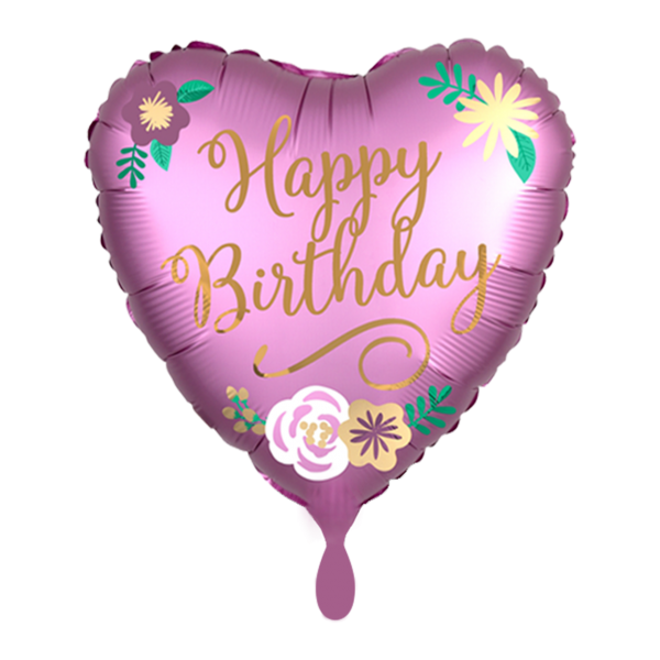 1 Ballon - Birthday Satin Flowers
