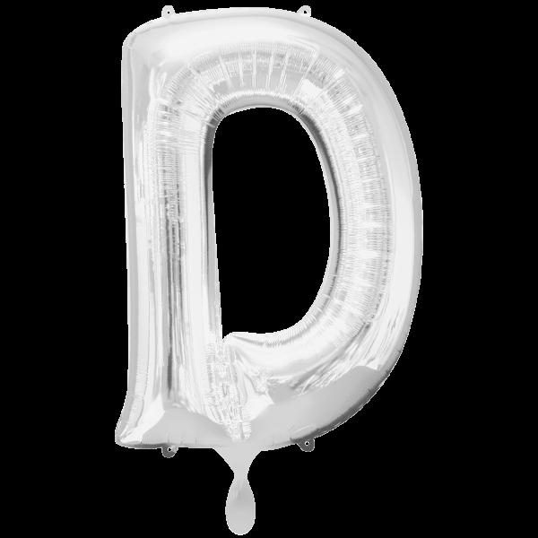 1 Ballon XXL - Buchstabe D - Silber