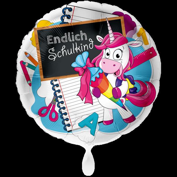1 Ballon XXL - Einhorn Endlich Schulkind