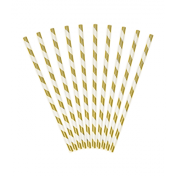 10 Papierstrohhalme - Stripes - Gold