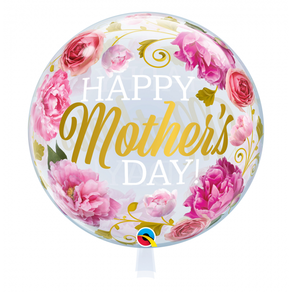 1 Bubble Ballon - Mothers Day Pink Peonies