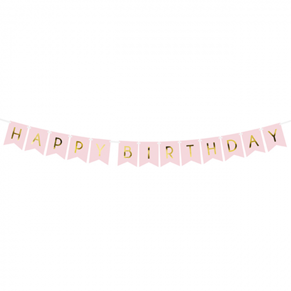 1 Bannergirlande - Happy Birthday - Rosa