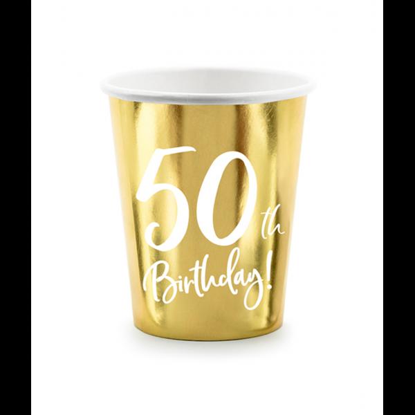 6 Pappbecher Trend - 220ml - 50th Birthday