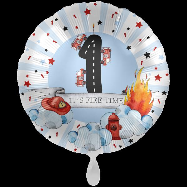 1 Ballon XXL - Happy Fire Engine - Eins