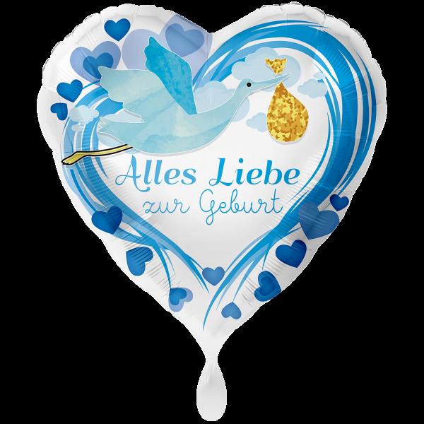 1 Ballon XXL - Alles Liebe zur Geburt Blau