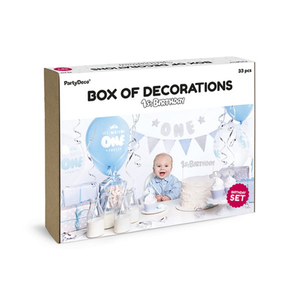 Dekoration Set - 1st Birthday Blue