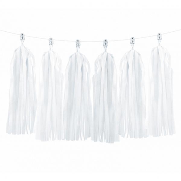 1 Tasselgirlande - 1,5m - Weiß