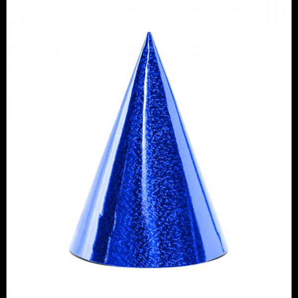 6 Partyhüte - Holographic - Blau