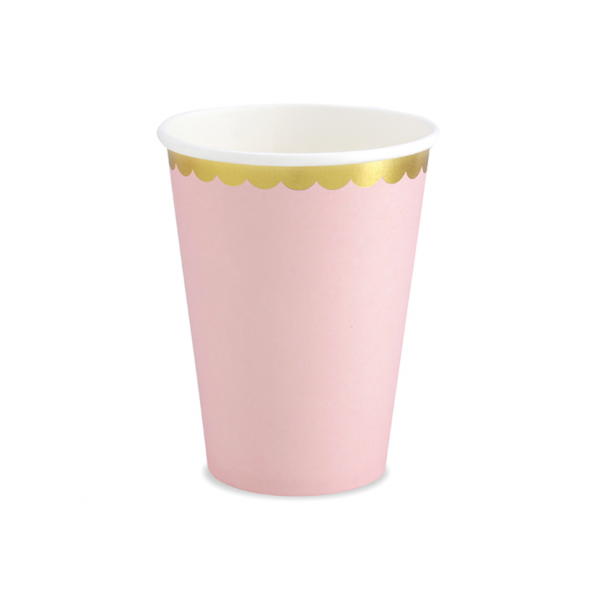 6 Pappbecher Trend - 220ml - Pastell Rosa