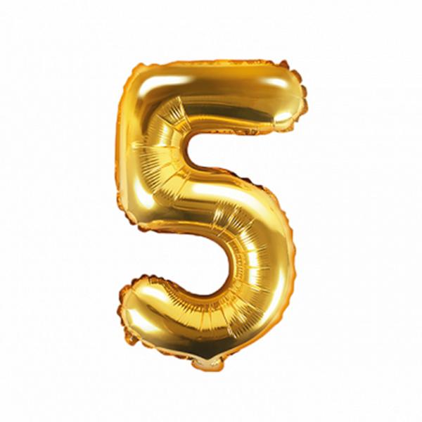1 Ballon XS - Zahl 5 - Gold