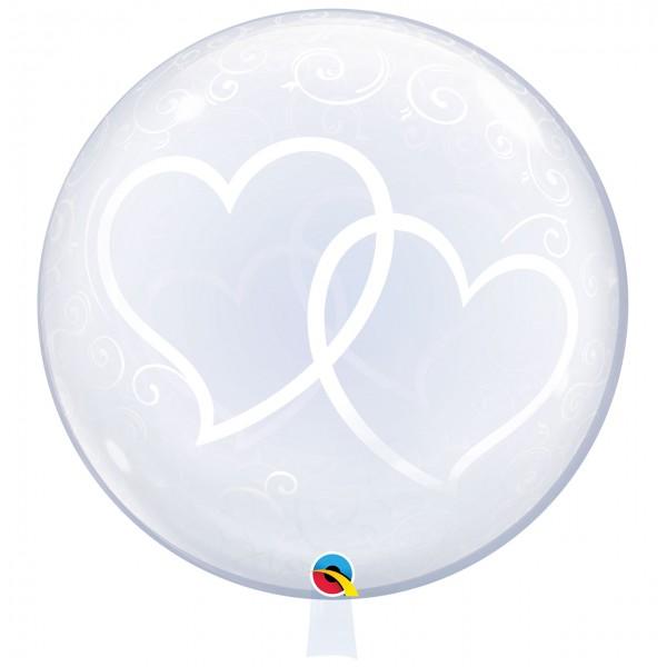 1 Deco Bubble Ballon XL - Entwined Hearts