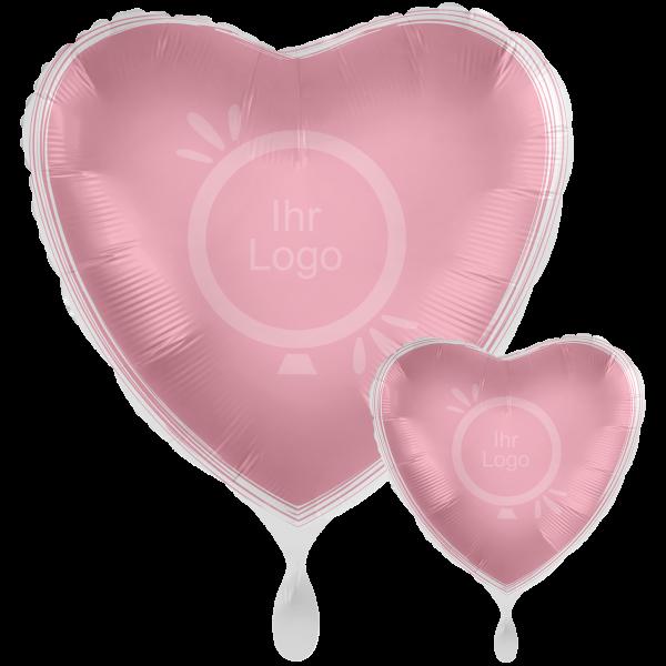 1 Werbeballon XXL - Herz, Ø 71cm, 2-Seitig - Satin - Rosa