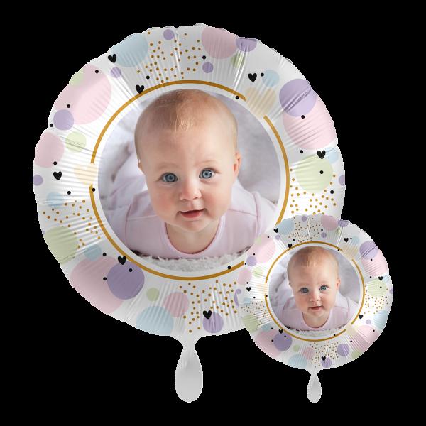 1 Ballon mit Foto - Pastel Hearts