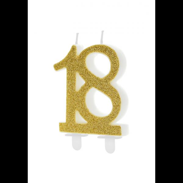 1 Kuchenkerze XL - Zahl 18 - Gold Glittery