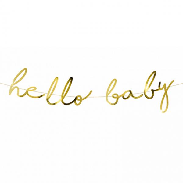 1 Bannergirlande - hello baby - Gold