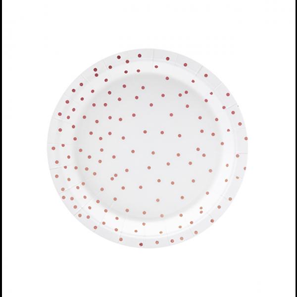 6 Pappteller Trend - Ø 18cm - Dots Weiß