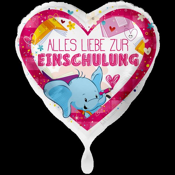 1 Ballon XXL - Alles Liebe zur Einschulung Pink