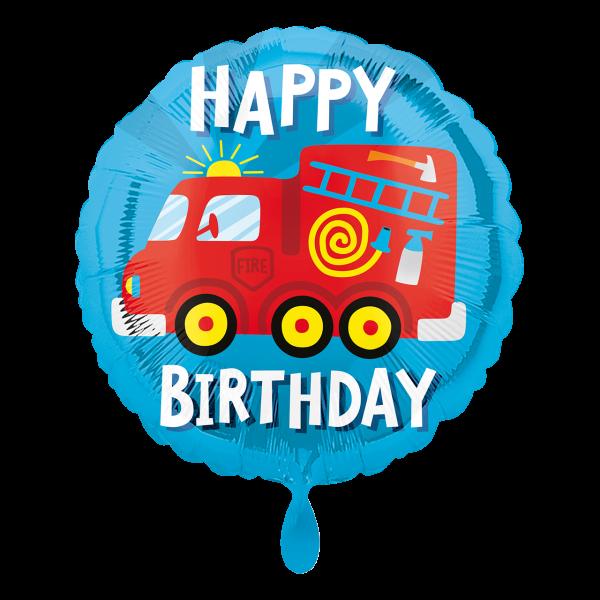 1 Ballon - Happy Birthday Fire Truck