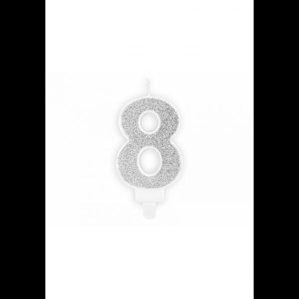 1 Kuchenkerze - Zahl 8 - Silber