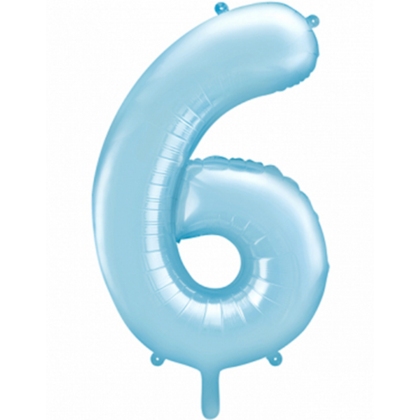 1 Ballon XXL - Zahl 6 - Hellblau