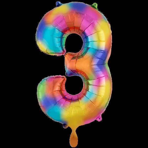 1 Ballon XXL - Zahl 3 - Regenbogen