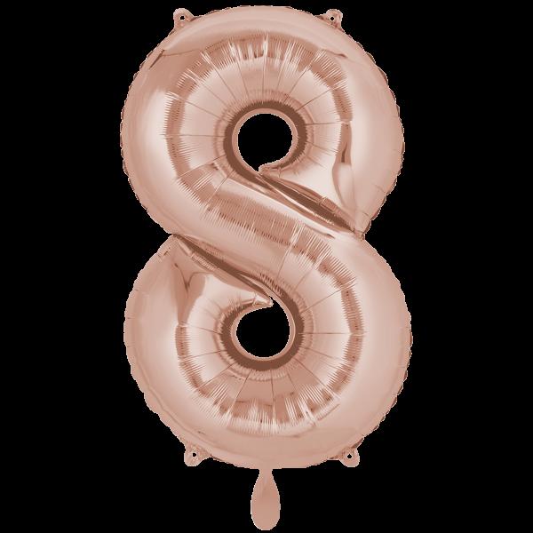 1 Ballon XXL - Zahl 8 - Rosegold