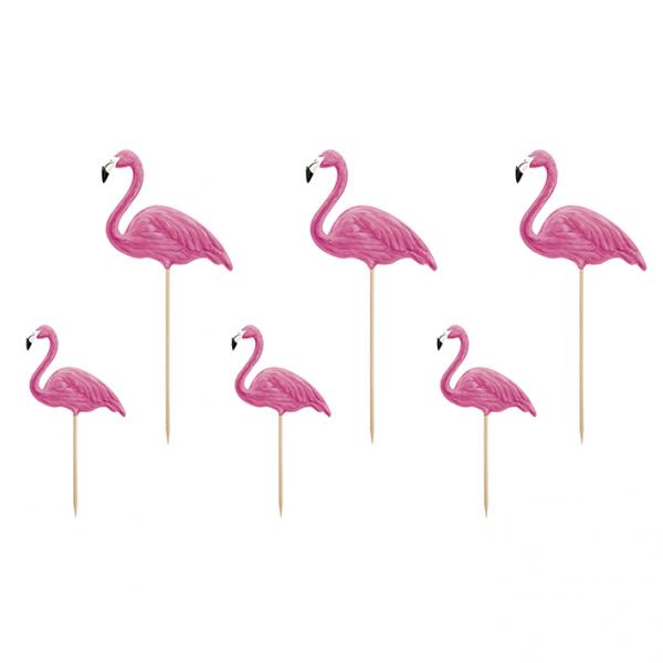 6 Cake Topper - Aloha Flamingos