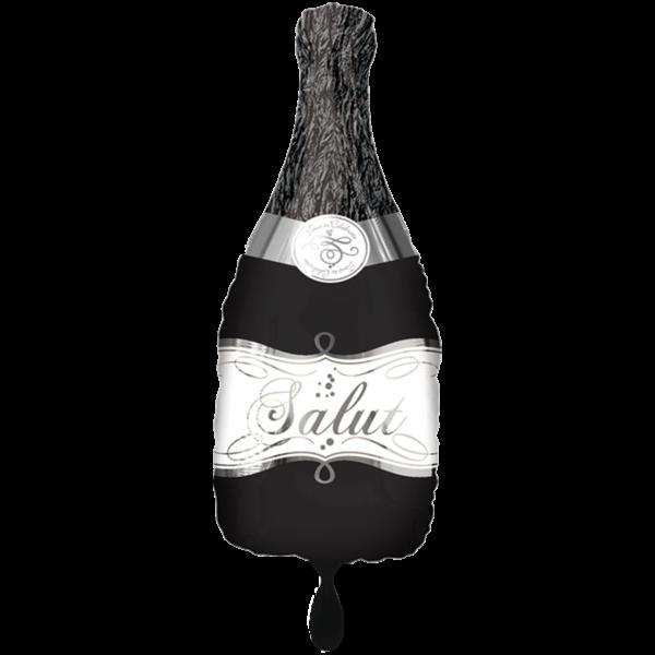 1 Ballon XXL - Bubbly Wine Bottle Black