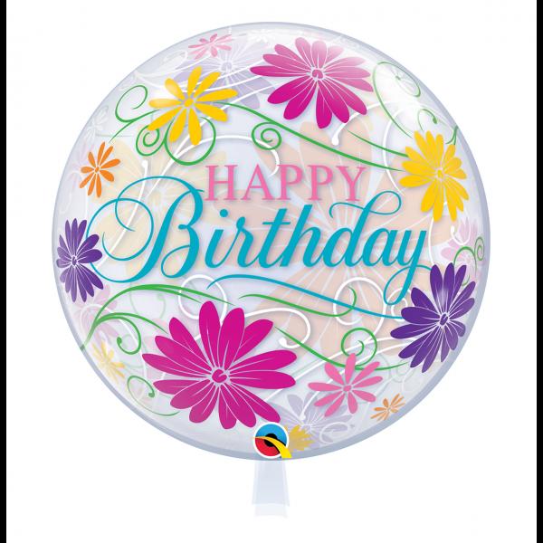 1 Bubble Ballon - Birthday Flowers & Filigree