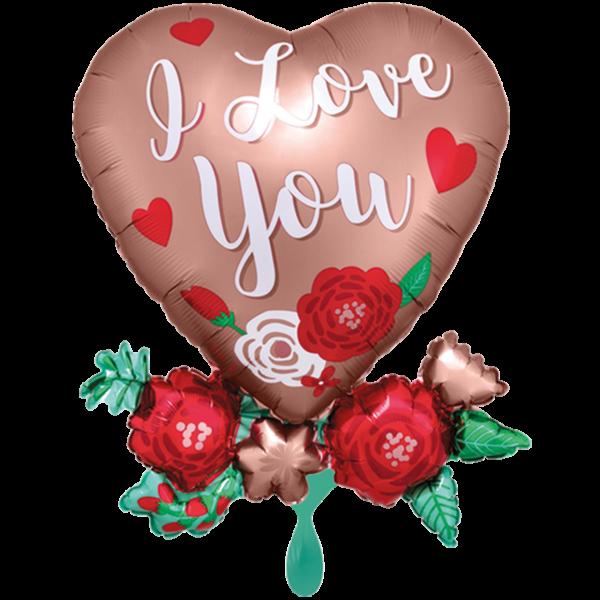1 Ballon XXL - Satin Heart with Flowers