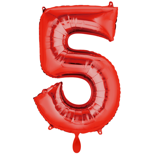 1 Ballon XXL - Zahl 5 - Rot