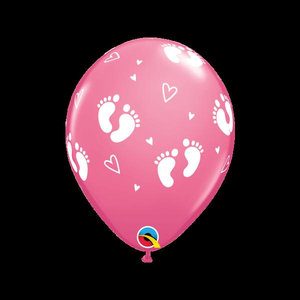 6 Motivballons - Ø 27cm - Baby Girl Footprints