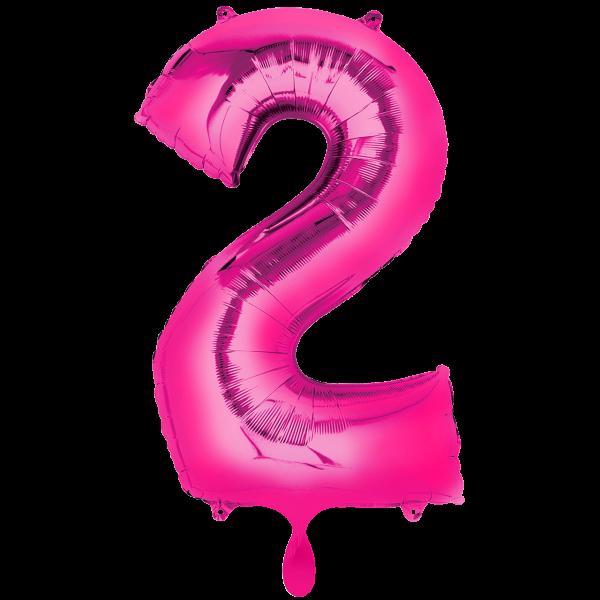 1 Ballon XXL - Zahl 2 - Pink