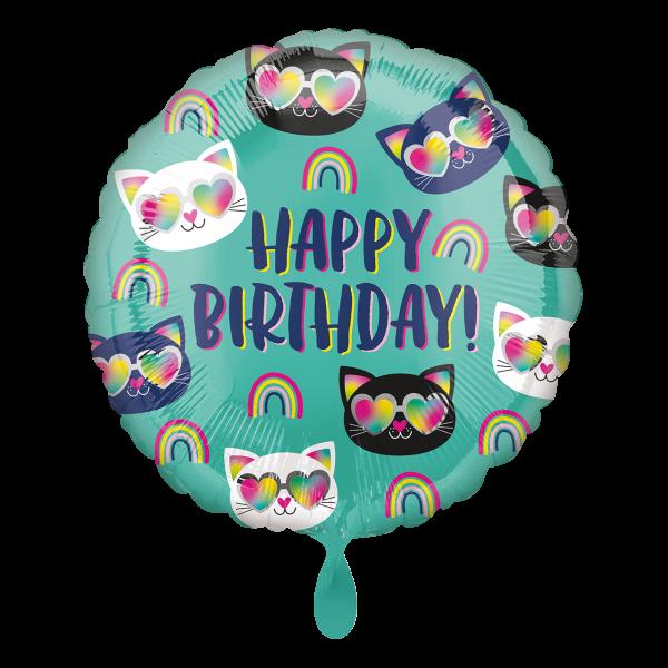 1 Ballon - Cool Kitty Rainbow Birthday