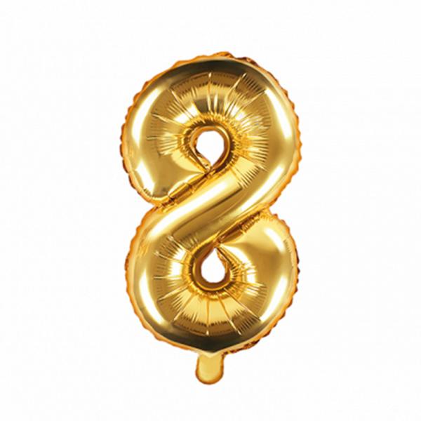 1 Ballon XS - Zahl 8 - Gold