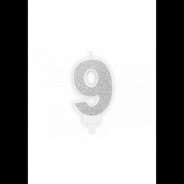 1 Kuchenkerze - Zahl 9 - Silber